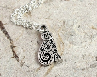 Spotted Cat Necklace, Silver Abstract Spiral Paisley Cat Charm on a Silver Cable Chain