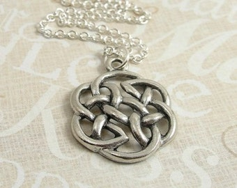 Celtic Knot Necklace, Silver Celtic Knot Pendant on a Silver Cable Chain