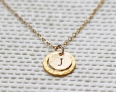 Gold Eternity Necklace with Initial, Personalized Eternity Necklace, Hammered Gold Ring, Gold Karma Necklace