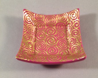Catchall Dish - Light Pink with Gold Swirls