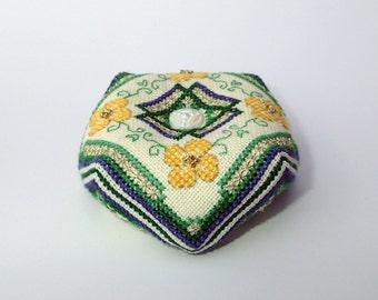 Irish Buttercups Biscornu Cross Stitch Pattern Instant Download