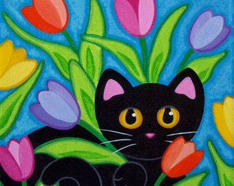Black CAT & Spring TULIPS Folk Art PRINT from Original Painting by Jill