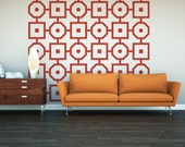 Geometric Wall Decal, Retro Wall Decor, Modern Nursery Decor,  Modern Wall Decor, Geometric Dorm Decor, Interior Decorating, Square Decal