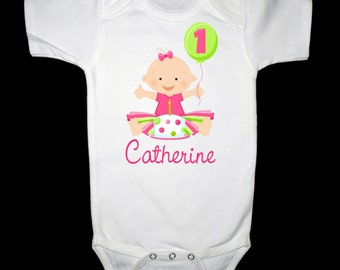 Personalized Baby's First Birthday with Cake and Balloon Shirt or Bodysuit for a Girl - Personalized with ANY name