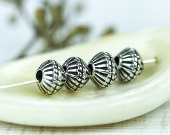 Greek Mykonos metal bicone beads, Geometric carved Antique Silver Plated Pewter Summer large hole 6mm (4 pc)--P428