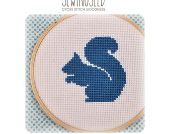 Squirrel Silhouette Cross Stitch Pattern Instant Download