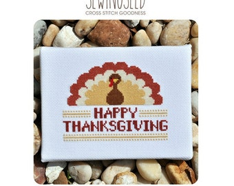 Happy Thanksgiving Turkey Cross Stitch Pattern Instant Download