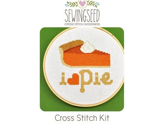 Cross Stitch Kit, I Love Pie, Pumpkin Pie, Embroidery Kit, DIY Kit
