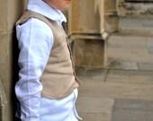 RESERVED boys linen vest - French beige
