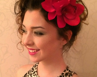 Hawaiian Red Two Orchids hair flower clip - Weddings -