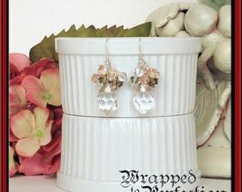 Swarovski & Venetian Crystal Earrings / Wire Wrapped Sterling Silver Dangle / Romantic Bride Wedding