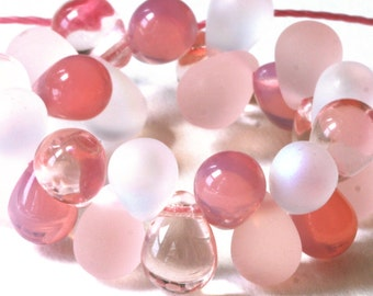 8x6mm Teardrop Bead Mix - 6x8mm Czech Beads - Jewelry Making Supplies  4 colors ( 40 Drops ) Cotton Candy