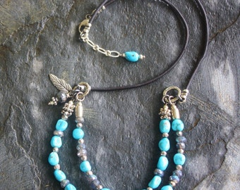 Handmade Jewelry, Turquoise andLabradorite Necklace, Boho Leather, Rustic Bohemian, Handcrafted Artisan Sterling Silver Necklace