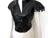 CLAUDE MONTANA Vintage Leather Vest Black Asymmetrical Coin Biker Waistcoat - AUTHENTIC -