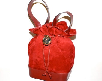 KARL LAGERFELD Vintage Bucket Bag Large Red Suede Leather Drawstring Tote - Authentic -