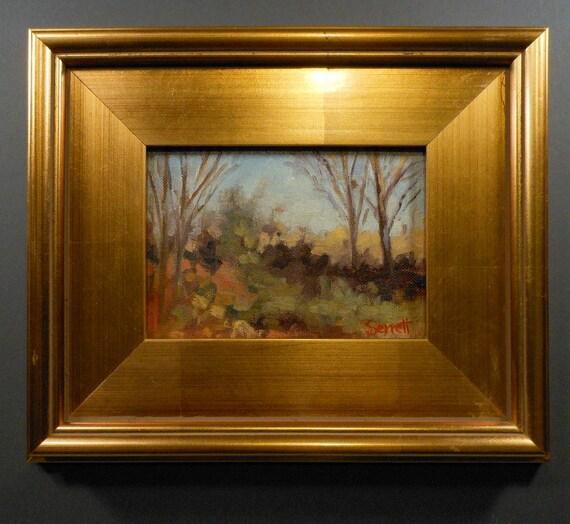 Changes - Original Oil Painting in Gold Leaf Wood Frame - Landscape
