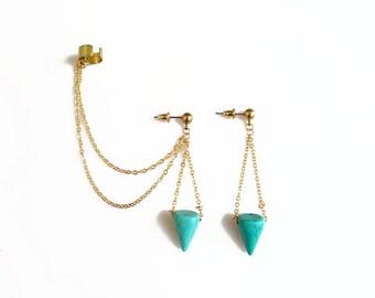 Chain Ear Cuff Earrings, Turquoise Spike Ear Cuff with Chains, Pendulum Chain Ear cuff