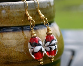 Red  and White Lampwork Glass Earrings