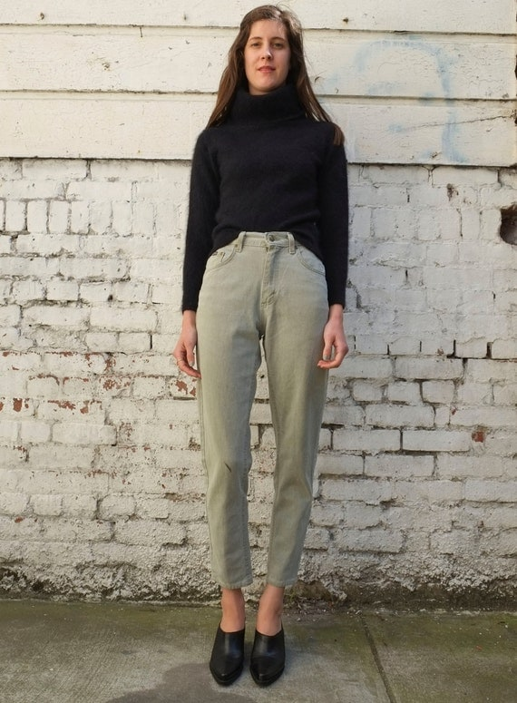 Vintage High Waisted 1980's Sage Green Denim Tapered Jeans S 26