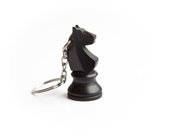 Chess piece key-ring - Black knight black horse (recycled/upcycled/reclaimed wood wooden key-chain)