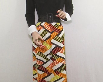 Vintage 1970's MOD Maxi Dress Cocktail Frock Party Gown in Black, Orange, Yellow & White-12