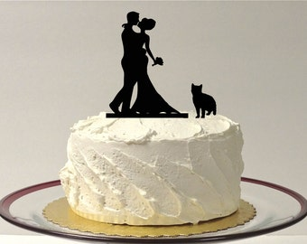MADE In USA, Cat + Bride + Groom Silhouette Cake Topper  With Pet Cat Family of 3 Silhouette Wedding Cake Topper Bride and Groom Cake Topper
