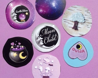 Stickers  Witch Moonchild Ouija Ghost Tree Hugger Galaxy 1.5 inch round