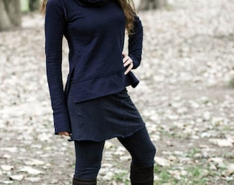 Contrast Trim Cowl Neck Sweater  (organic cotton french terry)
