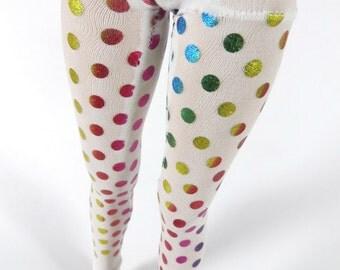 White Rainbow Dot Leggings MSD SD BJD