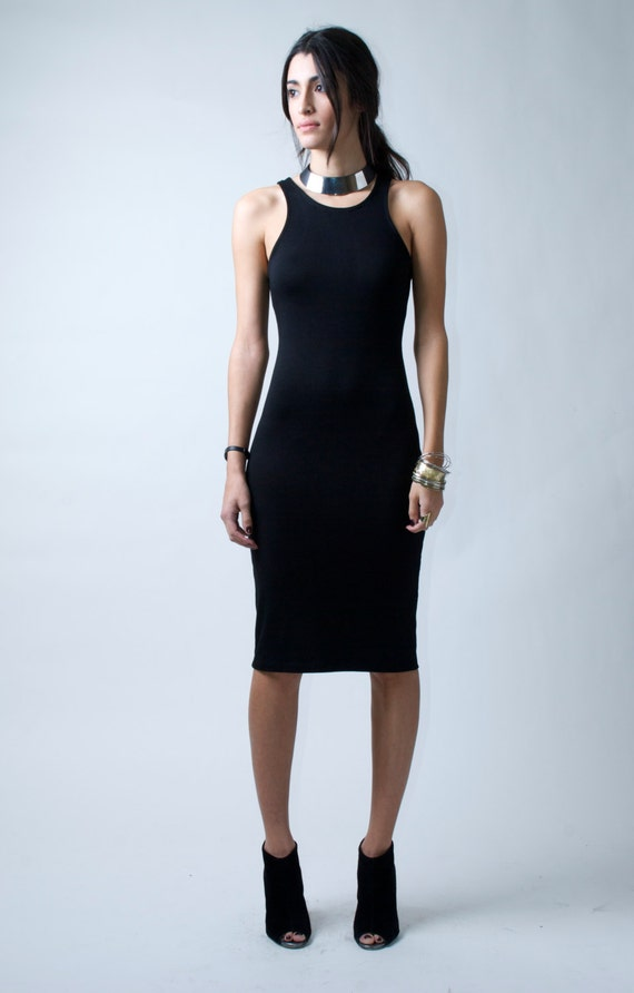 Black Ponte Dress / Midi Dress / Party Dress / Sheath Dress