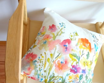 Watercolor Floral Pillow Cover, Designer Watercolor Pillow Accent, 18x18, 20x20, 22x22,24x24 Pillow Covers