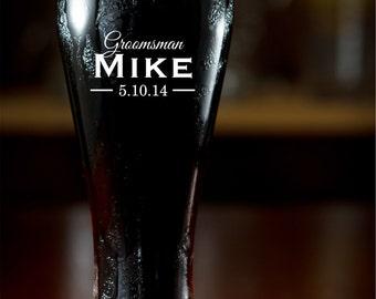 Personalized Pilsner Glass Groomsman Gift Engraved Beer Mug