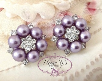 6 pcs - 25mm Crystal Rhinestone Plum Pearl Buttons with FLAT back - wedding / hair / dress / garment accessories