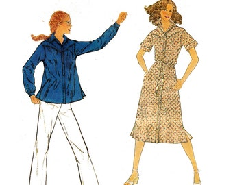 1970s Shirt Dress or Top Pattern Simplicity 8932 Vintage Sewing Pattern Size 14 Bust 36 inches UNCUT FF