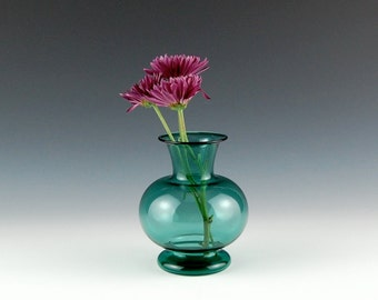 Teal Vase, Hand Blown Glass
