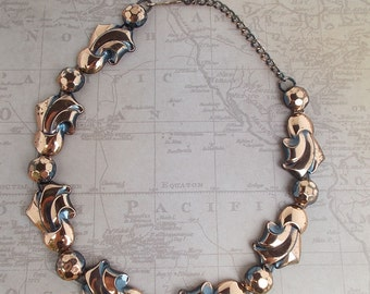 Vintage Copper Necklace Hammered Ribbon Metal Choker Mid Centruy Necklace