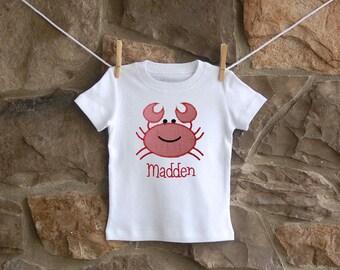 Boys applique crab shirt
