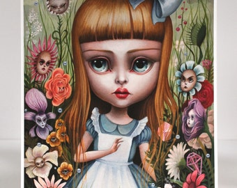 Alice in the Garden of Live Flowers - Limited Edition Alice in Wonderland signed numbered 8x10 pop surrealism Fine Art Print by Mab Graves