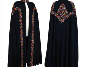 Extraordinary Vintage 1930s Black Embroidered Full Length Cloak Cape with Provenance