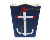 Wooden Waste Basket - Custom Hand Painted Children's Wood Garbage or Trash Can - Nautical Anchor or Any Kid's Theme