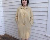 Vintage Coat 50s 60s Cream Beige Winter L XL