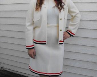 Mod 60s Wool Skirt Suit Jacket Top Dress Set Carol Brent Vintage Ivory Red Blue L