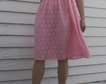 Pink Lace Dress Vintage Ruffle 70s 1970s Spring S XS