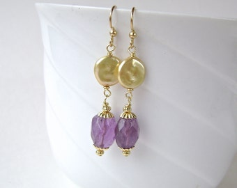 Amethyst Earrings, Gemstone Jewelry, Pearl Earrings, Freshwater Pearl, Gold Coin Pearls, Purple, Lavender, Gold, Thistle, Violet, 641