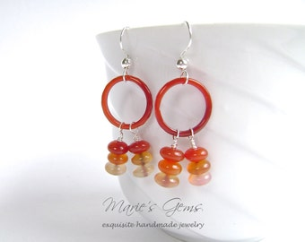 Red Agate Ring Earrings, Agate Drops, Silver, Red Orange, Yellow, Orange, Gradation, Fall Fashion, Autumn Jewelry, 831