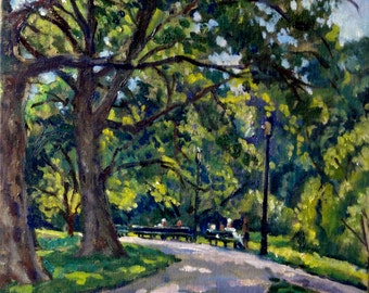 The Upper Path, Inwood Hill Park, NYC. 12x12 Oil Landscape Painting on Canvas, Impressionist Plein Air Fine Art, Signed Original Realist Oil