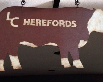Antique Early Double Sided Painted LC Hereford Cow Sign.  Vintage Cattle Farm Advertising.  Butcher.