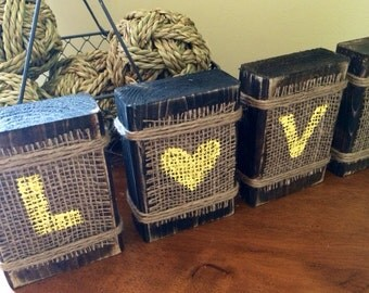 Hand painted distressed wooden Block Letters with Burlap and Jupe- Rustic County Wedding - Distressed Wooden Love Blocks