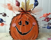 Pumpkin Lollipop Holder Wood Slices