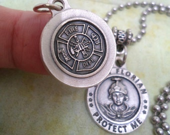 Patron Saint of Fire Fighters, St. Florian Protect Us Holy Medal Necklace, Catholic Jewelry